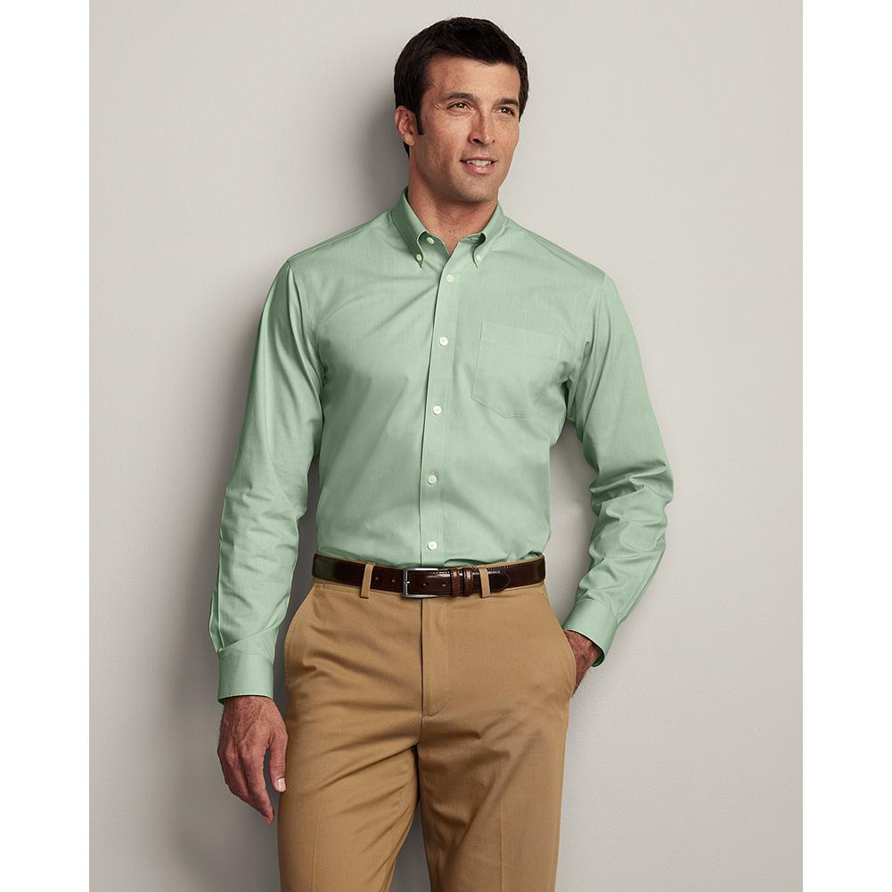 Entertainment Eddie Bauer Classic Fit Wrinkle-Free Pinpoint Oxford Shirt - Solid - Our exclusive ComfortCloth technology keeps this great-looking cotton button-down oxford shirt crisp and smooth, even when pulled from a duffel or overnight bag. The fabric is breathable and moisture-wicking, and guaranteed to retain its wrinkle-free appearance, shape, and color for 50 washes. Engineered for comfort and easy movement, including a center back pleat and our Classic fit. - $49.99