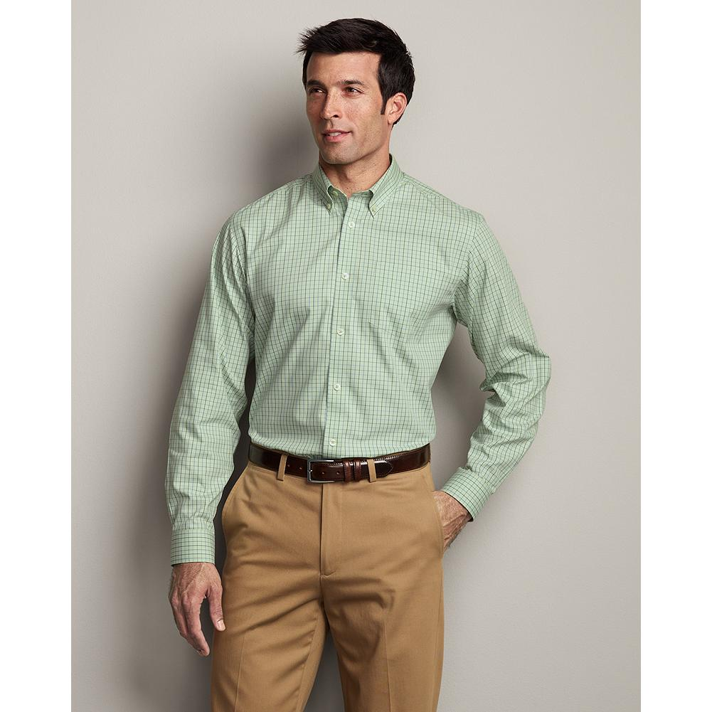 Entertainment Eddie Bauer Relaxed Fit Wrinkle-Free Pinpoint Oxford Shirt - Pattern - Our anti-wrinkle technology keeps this great-looking button-down oxford shirt crisp and presentable, even when pulled from a duffel or overnight bag. It's tested and trusted to retain its wrinkle-free appearance, shape, and color for 50 washes-guaranteed, and our COMFORTCLOTH helps lift moisture away from skin, providing a higher degree of breathability and wicking performance. - $29.99
