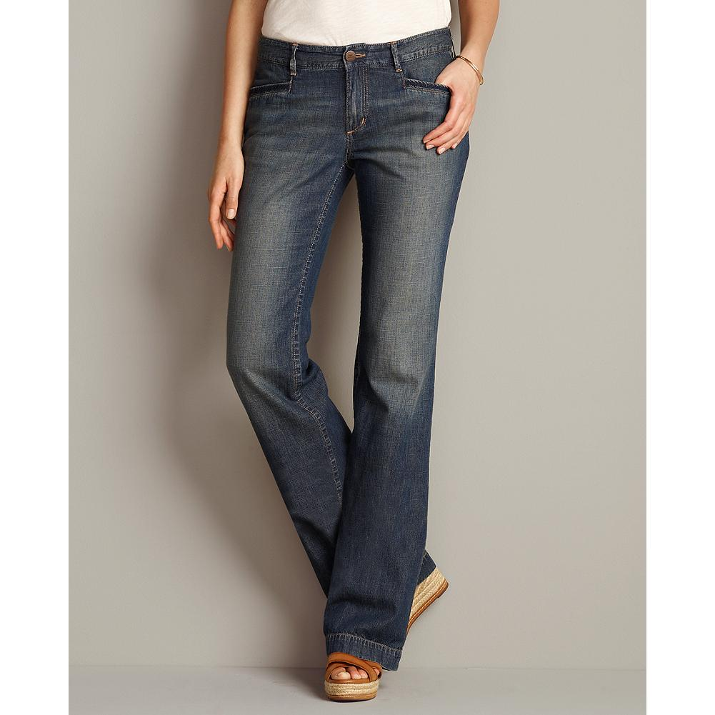 Eddie Bauer Slightly Curvy Lightweight Jeans - Our softly draping, light denim fabric segues easily from chilly mornings to warm afternoons and on into cooler evenings. Sits below natural waist; moderately curvy through hip and thigh. Trouser leg. - $19.99
