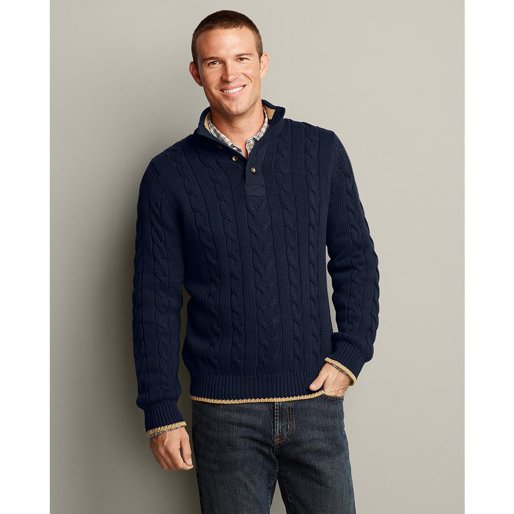 Entertainment Eddie Bauer Mockneck Fisherman Cable Sweater - An Eddie Bauer classic, this Pacific Northwest-inspired cotton cable-knit sweater has a preppy-yet-masculine twist. It's great for days on the water, or evenings at waterfront restaurants. - $29.99