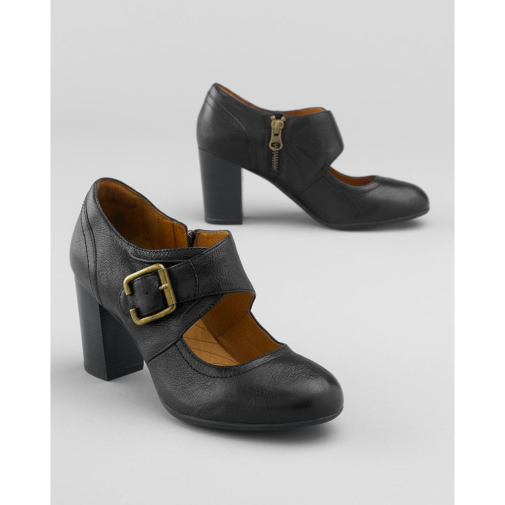 Indigo By Clarks Town Club Mary Jane Shoes - Put a little sass in your step with these Indigo By Clarks stacked-heel Mary Janes. Leather upper with adjustable antiqued brass buckle. Zip closure. Breathable, moisture-wicking Ortholite footbed. - $49.99