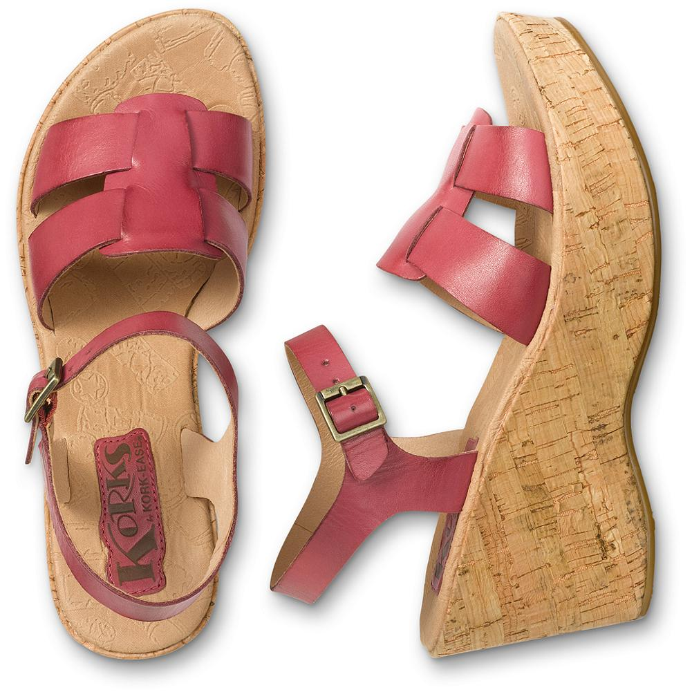 "Entertainment Korks by Kork-Ease Brie Wedge Sandals - Amazing comfort and rich color in a fashionable cork or leather-wrapped wedge. With a soft leather upper, adjustable ankle strap, cushioned footbed and slip-resistant rubber outsole. Heel height: approx. 3"". Imported. - $39.99"