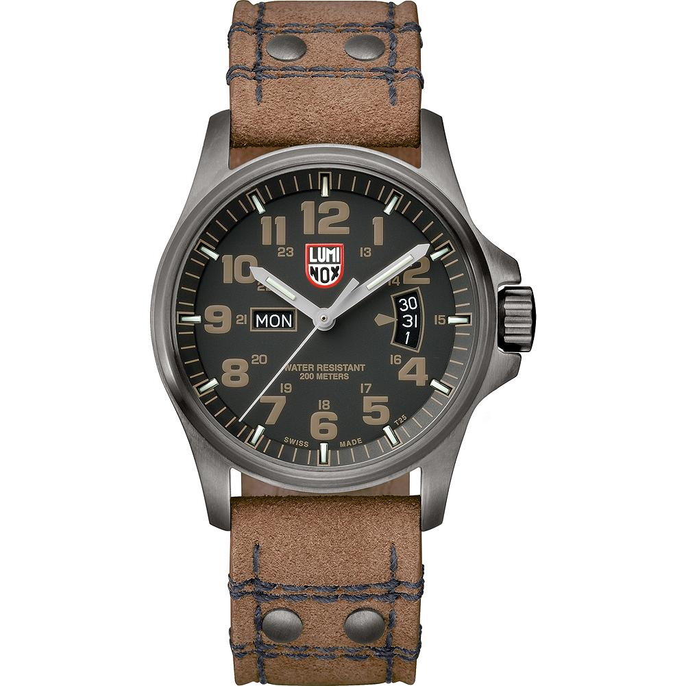 Luminox 1833 Atacama Field Day/Date Watch - Rugged and ready for adventure, this military-inspired field watch features a water-resistant stainless steel case and a precision Swiss-made quartz movement. Classic black dial with self-powered Luminox Light Technology (LLT) for at-a-glance visibility, even in the dark. Sueded leather strap. Imported.. - $525.00