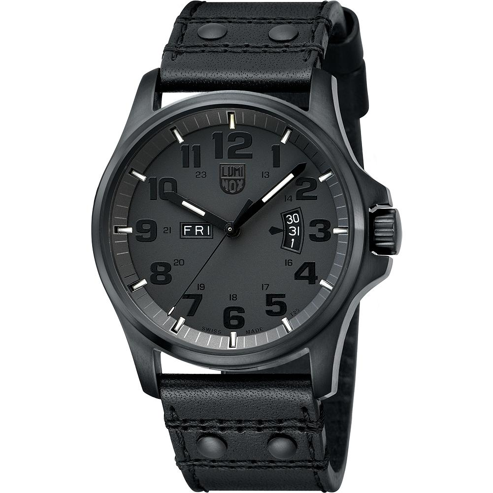 Luminox 1879 Field Day/ Date Blackout Watch - An ideal watch for travel and trail. Featuring an alarm function, quartz movement, brushed stainless steel case, sapphire glass crystal with anti-reflective coating, security screw-on crown, an illuminated dial and leather strap. Swiss made. Water resistant to 300 feet (10 meters). Imported.. - $495.00