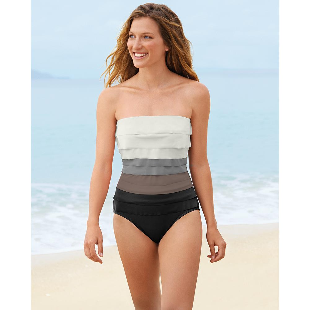 "Fitness Magicsuit Leah Bandeau One-Piece Swimsuit - Lighter to darker ruffles on this one-piece swimsuit minimize the bust and enhance the waist. Magicsuit by Miraclesuit swimwear is made of a patented ""comfortable control"" fabric to make you look slimmer in seconds. - $69.99"