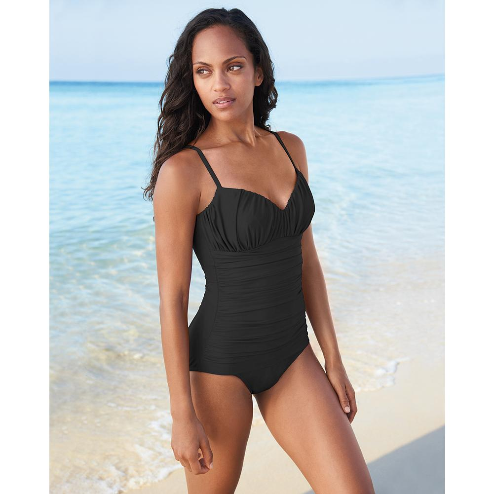 Fitness Miraclesuit Rialto One-Piece Swimsuit - Look 10 pounds lighter in 10 seconds. Customers of all shapes and sizes rave about the incredible figure-changing power of Miraclesuit swimwear. The magic is in the Miratex fabric: it's made with three times the spandex found in most swimsuit fabric. So it slims, shapes, firms and holds comfortably, without the help of any additional panels. This highly fashionable style has vertical shirring at bust and horizontal shirring on body. Made in USA and imported.  First time purchasing a Miraclesuit? Many customers order one size larger than their usual size. Please look at our size chart to find out the best fit for you. View Size Chart.               Watch Product Demo - $89.99