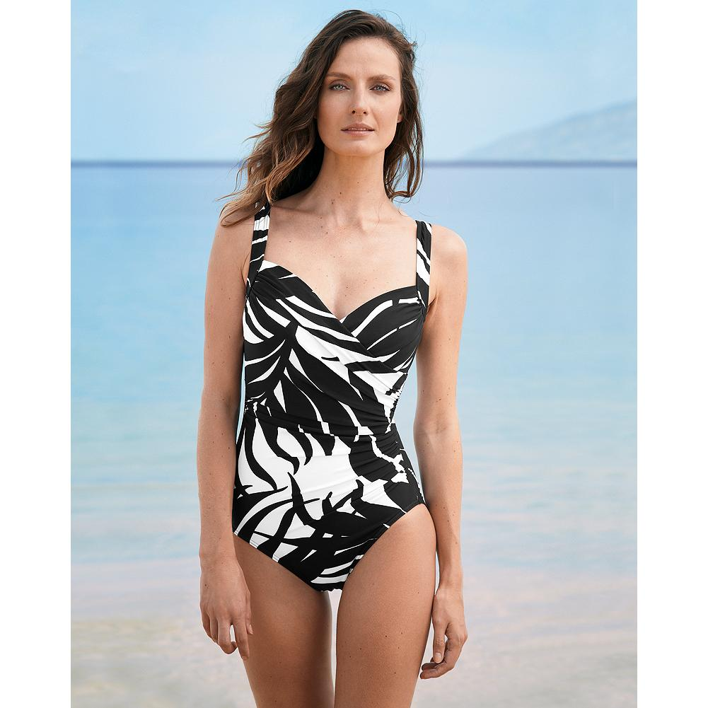 Fitness Miraclesuit Sanibel One-Piece Swimsuit - Black & White Print - A flattering faux-wrap silhouette makes this one-piece suit as comfortable as it is eye-catching. Made with Miratex for support, our Miraclesuits are designed to firm and flatter, and they're bestsellers year after year. - $69.99