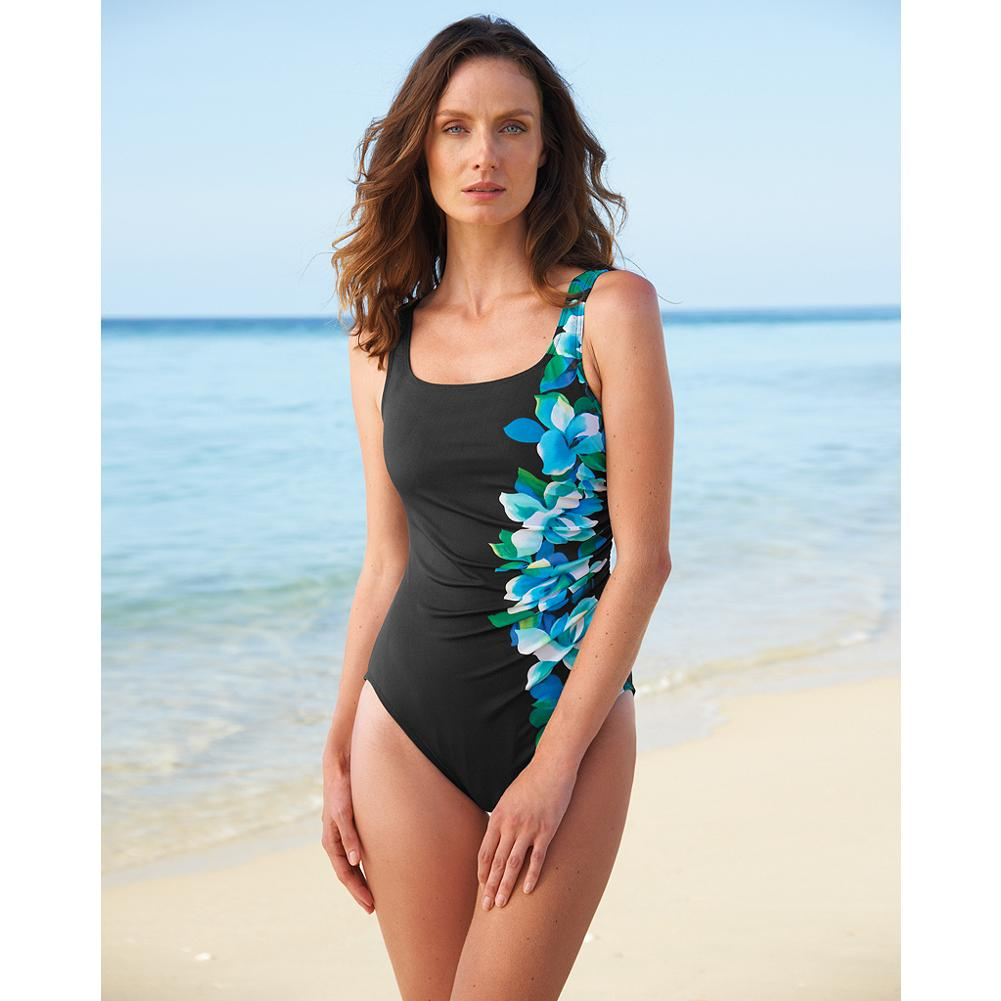 Surf Miraclesuit Side-Swipe One-Piece Swimsuit - This sporty one-piece swimsuit is ideal for outdoor activities, from beach combing to free surfing. Gentle shirring at the waist and side floral print draw focus away from trouble spots. Miratex fabric provides triple the support of average swimwear, even as it lengthens and contours your silhouette. - $9.99