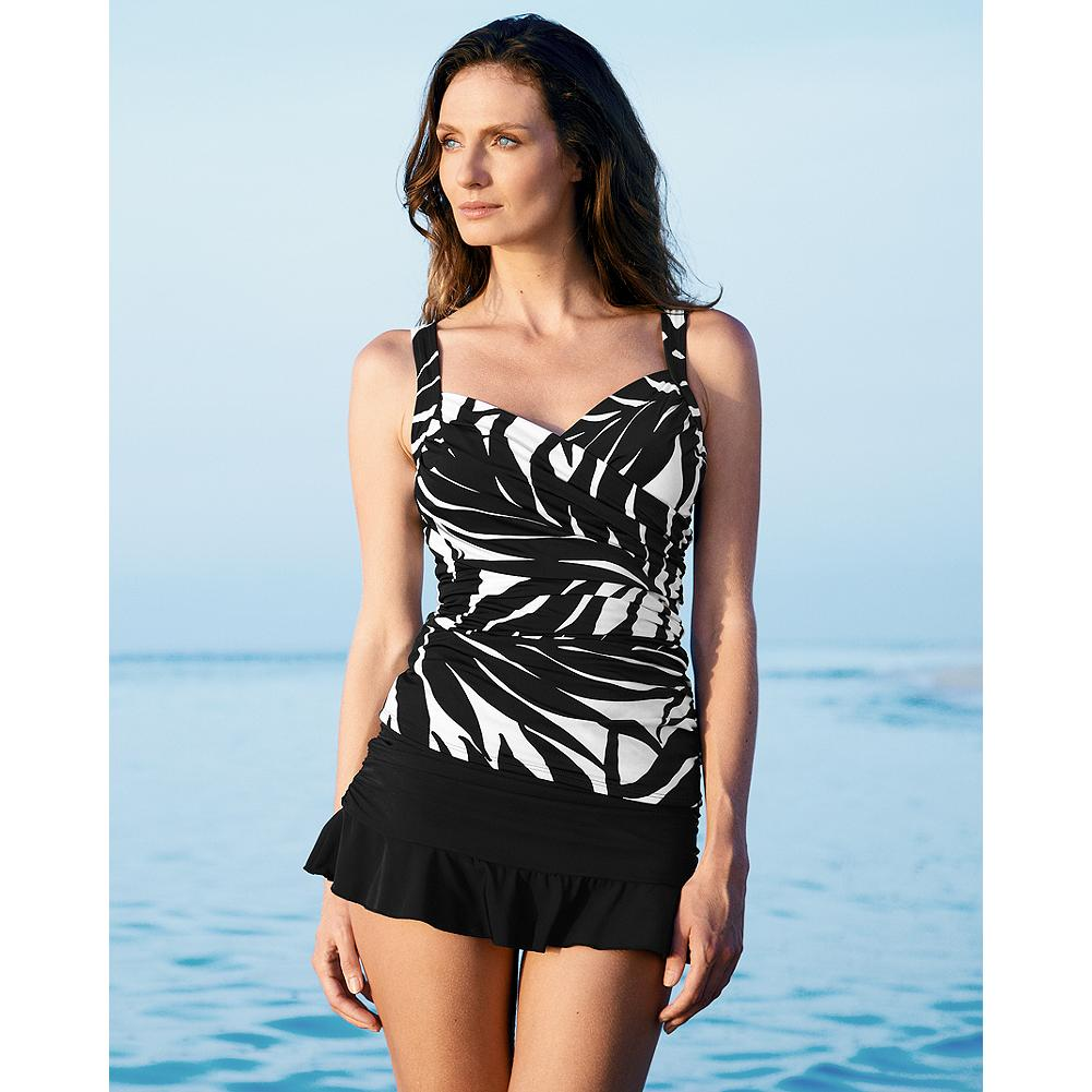 Surf Miraclesuit Ruched V-Neck Tankini Top - Miraclesuit. Look 10 pounds lighter in 10 seconds. Flattering silhouette and style designed for any water sport. Innovative Miratex fabric slims and firms with three times the Lycra spandex of regular swimwear, and without bulky girdles or linings. Based on our best-selling Sanibel One-Piece, a flattering wrap silhouette defines your waist and accentuates curves. - $19.99