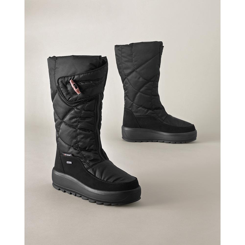 Pajar Jasper Zip Boots - Pajars sporty zip boots keep your feet warm and dry with style to spare. Insulated, quilted nylon upper with suede accents; waterproof membrane; fleece lining. Zip front with Velcro fold-over strap. Platform heel; rubber outsole. - $74.99