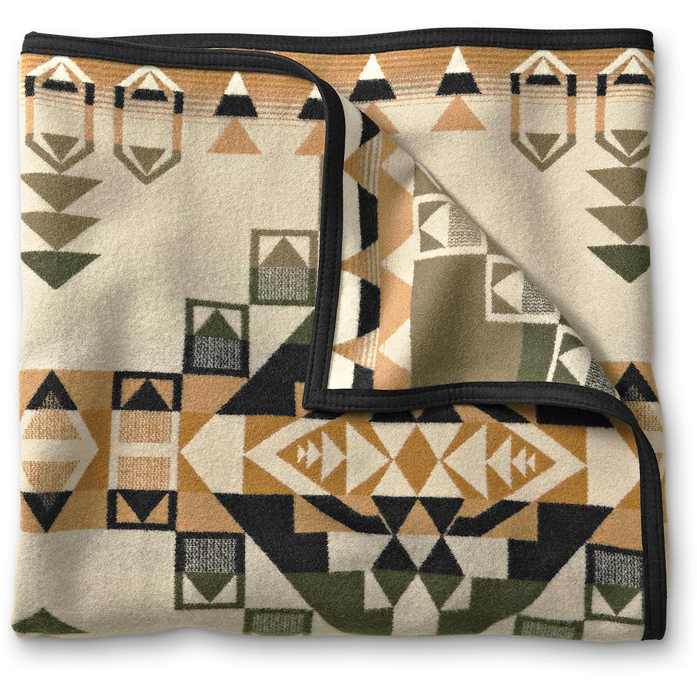 Entertainment Pendleton Native Throw Blanket - This beautiful wool-blend blanket pays homage to Native American ceremonial robes-works of art which doubled as blankets. Use on your bed or display on a wall. Made in USA. - $229.95