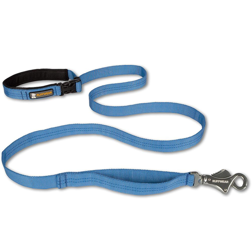 Ruffwear Flat Out(TM) Leash - Three leashes in one. The Flat Out(TM) Leash features a side-release buckle that allows for three handle conversions: hand-held, for standard walks; waist-worn, for hands-free use; and fixed, to clip around a tree or post. A convenient traffic handle offers quick control. Strong, secure Talon Clip(TM) allows for easy, one-handed clipping of leash to collar. Includes an accessory loop for pickup bags or other small clip-on items. Versatile 6' length. Imported.. - $19.99