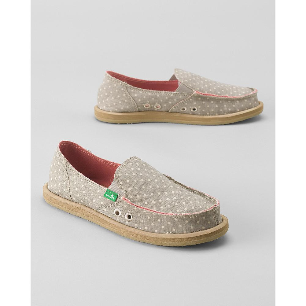 Entertainment Sanuk Dotty Sidewalk Surfer Slip-Ons - Lightweight and spring-ready in fresh, polka-dot patterned canvas, these slip-on shoes are perfect for casual weekend wear. - $39.99