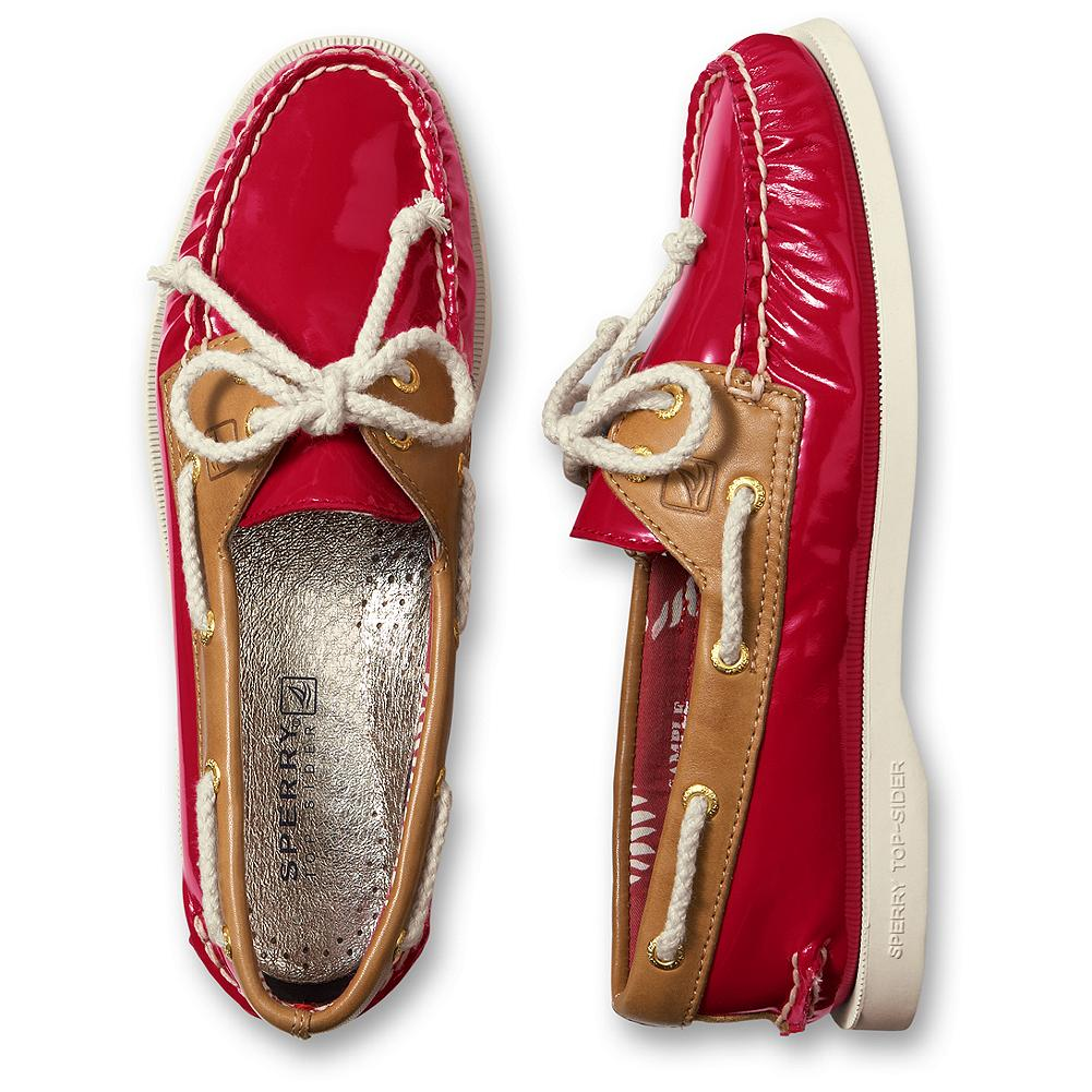 Entertainment Sperry A/O Patent Leather Mocs - Sperry's modern take on the classic deck shoe, featuring glossy patent leather and bold contrasting colors. 360deg rope laces top off the handsewn mocs' nautical look. Siped soles provide traction for a sure step. Imported. - $90.00