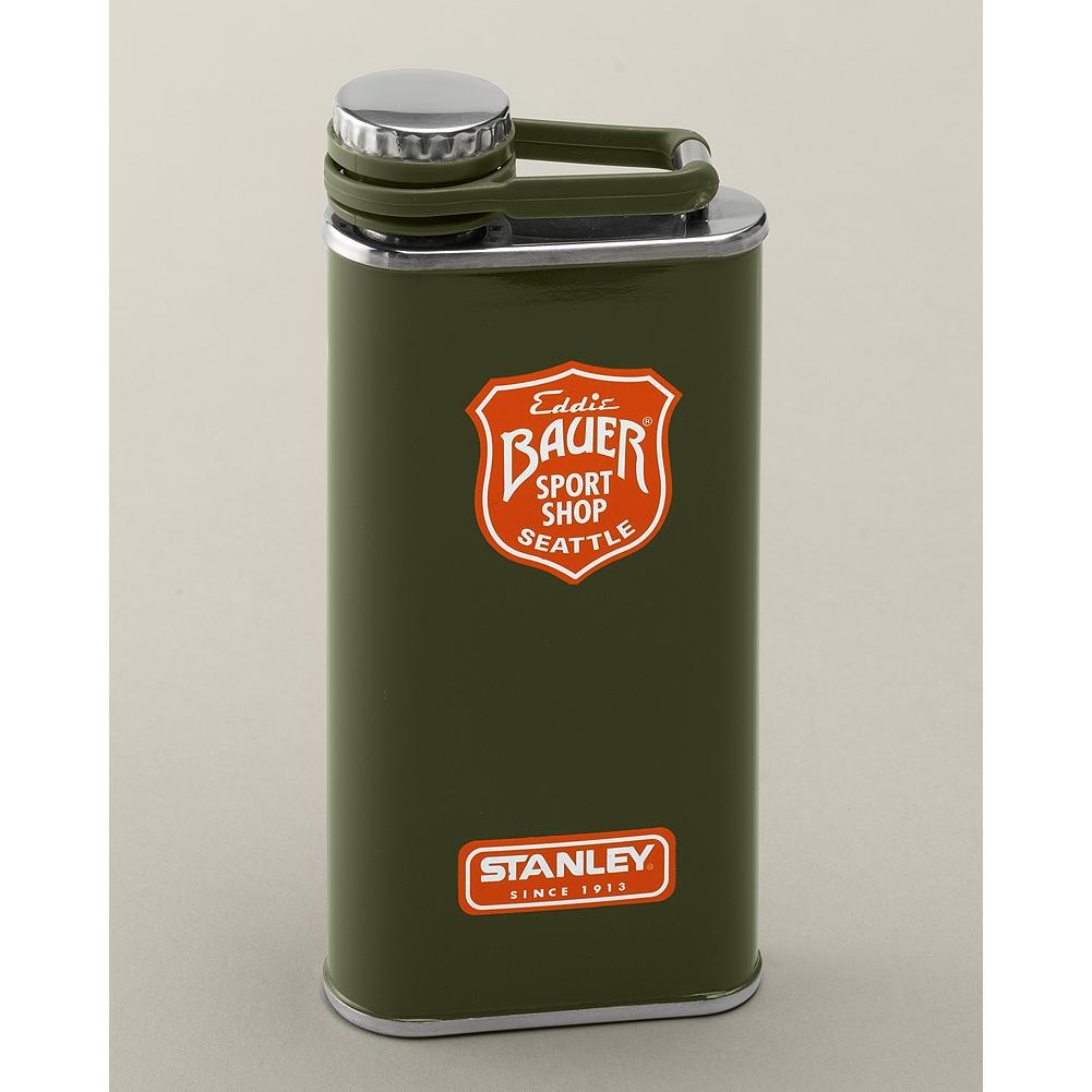 Stanley Flask - This slim profile flask is perfect for slipping in a pocket or passing around a campfire. Made of odorless, tasteless stainless steel and featuring Eddie's Sport Shop logo. Sealed lid with lanyard attachment. Imported. - $24.00