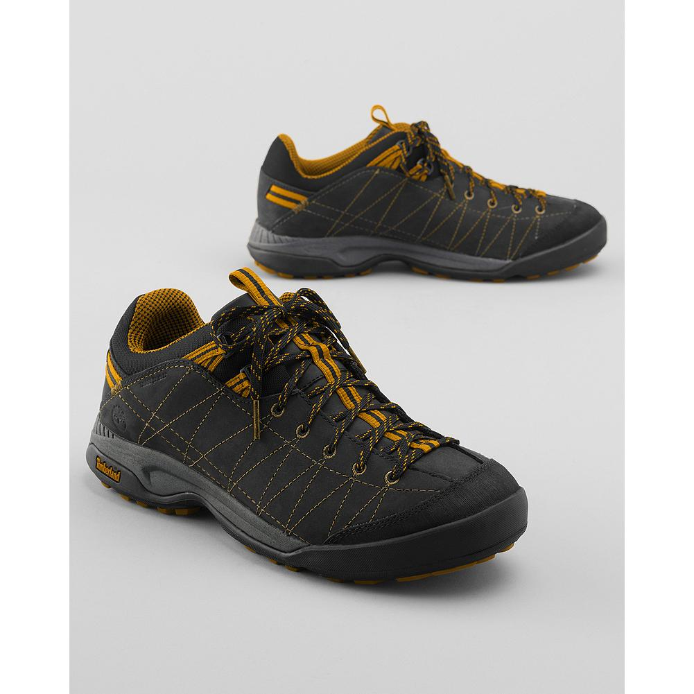 Camp and Hike Timberland Low Radler Trail Approach Hiking Shoes - Take on rough terrain-rain or shine-with these eco-friendly, bestselling hiking shoes from Timberland. Durable, water-resistant suede uppers and compression-molded EVA midsole.  Durable fabric plate for added protection against rocks and Timberland's exclusive 42%-recycled Green Rubber(TM) sole. - $49.99