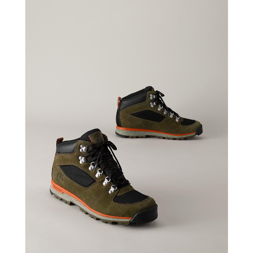 Entertainment Timberland GT Scramble Mid Boots - Take on rough terrain, rain or shine with Timberland's well-built mid boots. Durable, water-resistant upper with Timberland's exclusive 42%-recycled Green Rubber(TM) sole. - $49.99