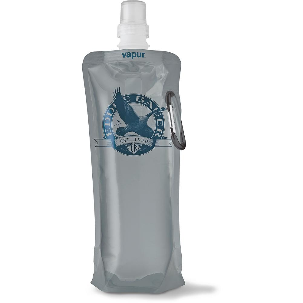 Vapur Hydration 18 oz Bottle - Exceptionally convenient and remarkably durable, this handy water bottle stands upright when full - then folds, rolls up, flattens and easily stows away when empty. BPA- and Phthalate-free, freezable and dishwasher safe (top rack only). Comes with a carabiner clip so you can easily carry it with you. Made in USA.. - $9.99