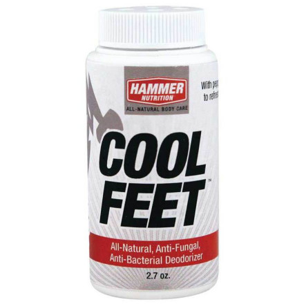 Fitness If you don't use anti-bacterial and anti-fungal foot powder in that greenhouse of stink known as your cycling shoes, it's way past time you change that bad habit. And beyond the benefit of not having rotting feet, an agent such as Hammer's Cool Feet All Natural Foot Powder has the added pleasing effect of making your feet feel dry, even if you sweat heavily -- a no-brainer.The magic elixirs in Cool Feet All Natural Foot Powder include Arrowroot, Baking Soda and clays, all of which are desiccants, meaning they absorb many times their volume in moisture. A bonus: Baking Soda is a neutralizer of acid, and since fungi and bacteria prefer acidic environments it's a natural anti-bacterial agent. And by the way, what you won't find in Dr. Scholl's are ingredients like Tea Tree Oil and Clove, both of which are used to prevent skin irritation.Hammer's Cool Feet All Natural Foot Powder is a completely natural drying and soothing agent for your feet and cycling shoes. To prevent bacteria and other nasty fungal life forms from attacking your feet, use once every other ride in your socks or lightly dusted into your cycling shoes. It comes in a 2.7oz bottle. - $15.95