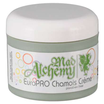 Fitness Whether you're racing in the French Alps or Alpine Valley, Wisconsin, racing is pretty much just racing. The difference is atmosphere. Get one whiff of this Mad Alchemy Euro Pro Chamois Creme and you'll be transported to a valley in the French Alps, no matter which Alpine Valley you happen to be in.Just unscrew the lid and you'll know it; your olfactory senses will breathe in scents of cedar forests and alpine herbs, moving your mind and body to a calming place as you suit up. More importantly, the creme will coat your undercarriage with essential oils mixed into the lubricating film to smooth out the ride and to help prevent bacterial and fungal growth.It's worth noting that all three Mad Alchemy chamois creme formulations work with the same base ingredients. As such, they share similar viscosity, lubricity, and are safe for both hommes and femmes. They are all veggie-based with high-quality ingredients. The main difference is the scents, though La Femme has a higher concentration of the essential oils that can help fight potential infections.The Mad Alchemy Euro Pro Chamois Creme comes in a 4 oz (120ml) tub. - $18.00