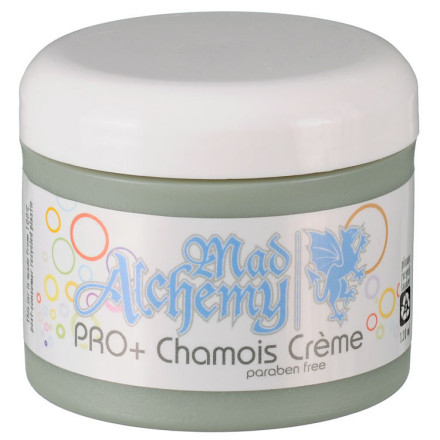 Fitness Vive la difference! Pro Plus Chamois Creme from Mad Alchemy is similar to their Euro Pro and yet quite different. The difference is a gentle citrus scent that evokes cleanliness in both the nostrils and the brain. If you like to feel that you're well-scrubbed -- your white tape and shoes are spotless before the start of a race or ride -- the Pro Plus is what your nose longs for.As with their Euro Pro Creme, this creme slathered on the skin and chamois lubricates and protects your sensitive areas from the abuse of long rides. Added to the lube are essential oils to keep the skin smoothly and to help prevent bacterial and fungal growth.It's worth noting that all three Mad Alchemy chamois creme formulations work with the same base ingredients. As such, they share similar viscosity, lubricity, and are safe for both hommes and femmes. They are all veggie-based with high-quality ingredients. The main difference is the scents, though La Femme has a higher concentration of the essential oils that can help fight potential infections.The Mad Alchemy Pro Plus Chamois Creme comes in a 4 oz (120ml) tub. - $18.00