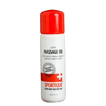 Fitness Treat your skin and hair to a home spa day with the Sportique Massage Oil. The 100% jojoba formula helps protect your skin against scarring, treats stretch marks, and gives your hair a healthy, natural shine. - $12.57