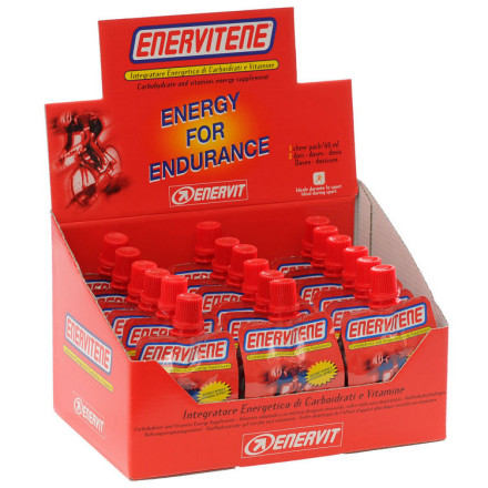 Fitness On exceedingly hot days, are energy gels just too thick and sticky to be palatable' Enervit produces their Enervitene in this Cheerpack, with a slightly less viscous mix. Compared to their Sport Gel, the Cheerpack's thin syrup consistency is easier to consume quickly without riding for miles with a sugary film inside your mouth.Enervitene is Enervit's go-to energy source for mid-ride usage. You should consume one Cheerpack for every 60 minutes of a workout. It provides you with 120 calories. The carbohydrate blend consists of 12g of maltodextrin to give you a fairly quick shot of energy, with 15g of fructose to maintain long-lasting energy. You'll also get Vitamins B1, B2, and B3 for carbohydrate assimilation. Enervit Enervitene Cheerpacks are available in Lemon, Original, and Orange. Comes in a box of eighteen 60ml packets. - $40.00