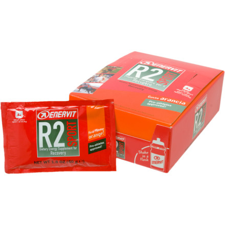 Fitness Enervit R2 is designed as a post-ride nutritional supplement to give back to your body what it lost in your efforts on the ride. Enervit R2 includes branch chain amino acids to help stabilize your muscles and accelerate muscle recovery. They also include carbohydrates to replenish the glycogen you'd normally store in your muscles and liver, but consumed in your efforts. And since you went ultra-hard, the processes which enabled you to make that last lap breakaway resulted in the formation of cell damaging free radicals. Enervit includes vitamins C and E to fight their effects. A blend of mineral salts also gives back electrolytes to restore the water balance in your cells.Enervit R2 accelerates your recovery after hard rides, beginning your preparation for tomorrow's ride today. It comes in Orange flavor and is sold in 50g packets. Each packet of granular R2 is easily dissolved in a water bottle for consumption. - $49.95