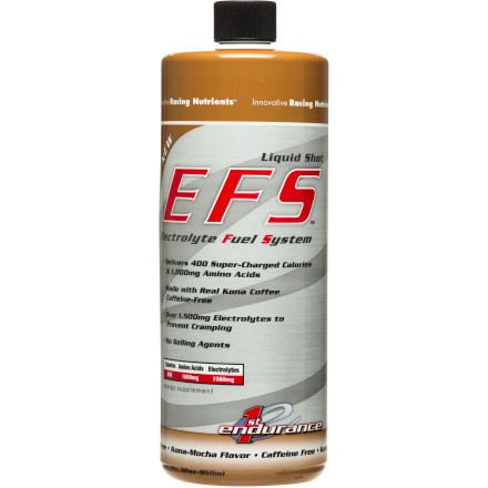 Fitness The EFS Liquid Shot - 30oz. Bottle has six 400-calorie servings in it. Most flasks we have take five to six ounces of fluid. The bottle grande takes 32 ounces of fluid, but is filled with 30-ounces. That's about the same caloric punch as 16 bars. We're comparing the calories; solid to liquid, because the Liquid Shot is different than the gels it competes with. It's apples to apples.For one, it's not a gel. No gelling agents are present. Without these agents, the liquid is less viscous, goes down more easily, requires less drinking from your water bottle afterward, and doesn't need diluting to get every last drop out of the flask.A flask's worth of the LS is 400 calories. Of the 400, there are 100g of carbohydrate in a mix of glucose, maltodextrin, and sucrose. The reason for the mix is to have fast-acting, slow-acting, and easy-absorbing carbs. The bottle also has 1000mg of amino acids, broken down into glutamine and branch-chain amino acids isoleucine, leucine, and valine. There is also a pretty heavy-duty electrolyte blend of 400mg sodium, 290mg potassium, 150mg calcium, 120mg magnesium, and 600mg chloride. As all cyclists should know, we sweat out salt and have a great need for electrolytes when exercising hard, and the loss of salt can lead to cramping. First Endurance argues that you need more than just salt to prevent cramping; that's why the rest of the electrolytes are present. The Liquid Shot will keep your electrolytes balanced, help with absorption, reduce lactic acid build-up and keep the body going.The container can sit sealed and unrefrigerated for a year, but once opened, should be stowed in your refrigerator. If a flask is unfinished after a ride, pop it in the fridge and keep it there until the next ride. First Endurance EFS Liquid Shot is available in Vanilla and Wildberry. - $21.00