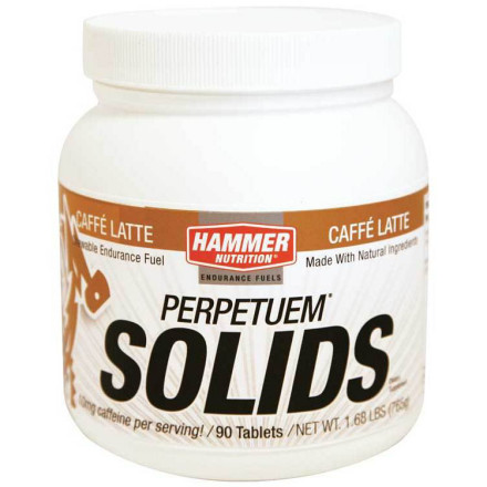 "Fitness Have you ever started feeling sore immediately following a long ride, or maybe even toward the end of tough effort, before you're even off the bike' If the answer is yes, your long-ride nutrition regimen has a gaping flaw that can be repaired instantly with Hammer's Perpetuem Solids. But before explaining the benefits of Perpetuem Solids you really need to know why you've encountered early exercise-induced muscle fatigue.Your body in hour three or later of a long, sustained effort is a lot like your laptop computer's OS running 19 programs at once, in the breeze-less, 90-degree-sun, the fan blowing full, and the battery at 12%. The longer you stretch your own ""computational"" capabilities, the more you're calling upon finite resources. On a ride lasting longer than two hours, refueling with carbs is no longer enough. This is because even the process of converting carbs into fuel scavenges other critical resources, like amino acids. And the conversion of any carbohydrate or other fuel, whether consumed or already in your bloodstream, creates a chain reaction of oxidization, where free-radicals are released, creating harm (and performance limitations) throughout your entire system. And ...complex carbs, soy protein, and amino acids to stave off muscle fatigue... though aminos are also anti-oxidants, your body is calling upon them for energy conversion, limiting their use for fighting off oxidization. The harder you work, the worse the drain on your limited amino supplies and the broader the free-radical release. Because bringing a turkey on rye in your jersey pocket isn't especially convenient for mid-ride refueling, Hammer makes Perpetuem Solids in tablet form. A caution here: This isn't a sugary Snicker's bar or other highly sweetened gel. Hammer specifically makes the 33-calorie tablets small enough to chew and purposely avoids any refined sugar use, which will incite that awful spike-and-crash cycle that leads to highly uneven performance. - $37.95"