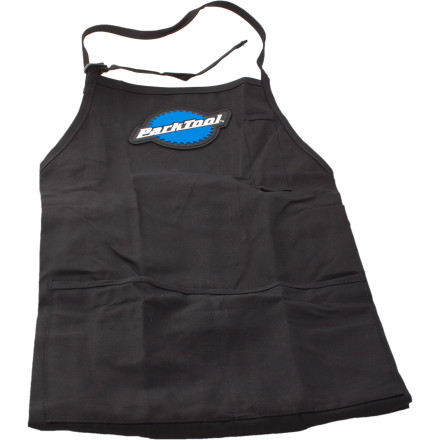 Fitness It's easy to dirty up your favorite attire when immersed in man-cave bike repairs. Keep your spouse happy and save money on clothing with the Park Tool Shop Apron Constructed using heavy 7-ounce poly cotton twill for comfort and durability, you'll be hard-pressed to ruin those new pants of yoursat least in the downstairs shop.Full-length coverage won't let grime slip by 3 front pockets and 1 pen pocket keeps everything close at hand - $18.95