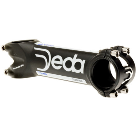 "Fitness The standard Deda Zero100 Stem is identical in nearly every detail to the Zero100 Servizio Corse. It's made with the same ultra-light 2014 aluminum alloy construction and with the same 3D forging to maximize the wall thinness (and thereby shave weight). The only distinction, in fact, is that the Zero100 foregoes the titanium bolts that come standard on the Servizio Corse model. Instead, it has stainless steel bolts. For this slight hardware modification, you save nearly 50% in cost.Like the Servizio Corse model, the standard Zero100 is available in 10mm increments from 90mm-130mm and has the standard 82 degree rise seen on almost all Deda stems. It comes in a 31.7mm clamp size only, and is available in two colors -- the same matte black we've all become familiar with on the Deda Newton, and a ""Dark Metal Polish"" we refer to as grey. The actual weights of the Deda Zero 100 Stem: 90mm is 118g. 100mm is 121g. 110mm is 129g. 120mm is 133g. 130mm is 136g. - $95.00"