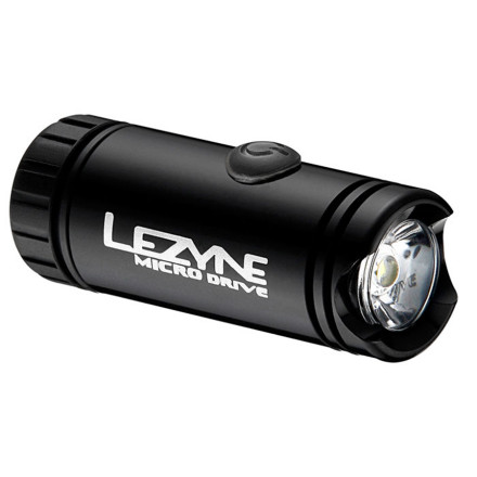 MTB The Lezyne Micro Drive Front Light will slide in nicely between the other items mounted on your handlebars to give you 150 lumens looking forward, and 180 degrees of visibility.  The most obvious difference between the Micro Drive and other lights is the CNC-machined aluminum body. In the event that you take a spill, the Micro Drive can handle it. The machined aluminum body also dissipates heat, which can damage LED bulbs over time. The Micro Drive is sporting a redesigned power button that increases the headlight's water- and weather-resistance. The new power button hides the green and red LED's that allow you to monitor battery level without losing a pedal stroke. When the headlight is on, the indicator (locator on top of the light housing) will be either green, red, or flashing red to indicate power level. The Micro Drive is also equipped with Lezyne's Maximum Optical Reflection one-piece internal reflection technology. The result is a light with fewer parts and a smoother, wider Uniform Power Beam. The Micro Drive has four modes: Blast (150 lumens), Enduro (100 lumens), Flash (100 lumens), and Economy (50 lumens). The battery is good for 2 hours, 3 hours, 6 hours, and 6 hours in each mode, respectively. Lezyne's side visibility technology makes the Micro Drive visible from 180 degrees at night without illuminating your handlebars, which can be distracting. It includes Li-ion, rechargeable batteries and a USB charger, and a nylon handlebar mount. The Lezyne Micro Drive Bicycle Headlight comes in Black and Silver and is compatible with 31.8mm or 25.4mm road or mountain handlebars. - $49.95