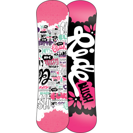 Snowboard Send your girl out into the slope or even the park with the Ride Blush Snowboard and watch her progress from connecting her first turns to riding features with ease. The Blush's LowRize rocker profile raises contact points at tip and tail so she can enjoy easy, catch-free progress, while the flat zone underfoot gives her stability with a touch of pop. - $118.97