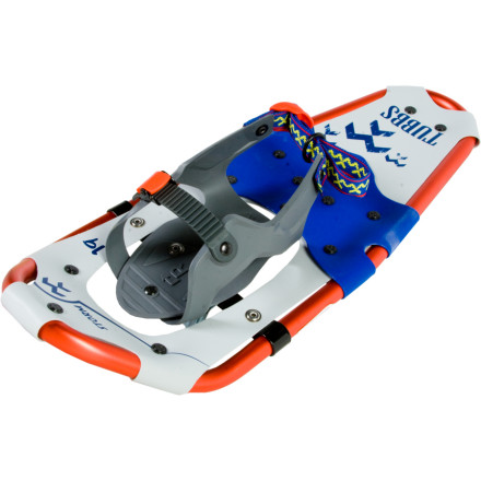 Camp and Hike Setting your kid up with a pair of Tubbs Storm Snowshoes is a great way for him or her to experience the snowy outdoors. The 19-inch aluminum frame is durable and large enough to support munchkins weighing up to 90 pounds. The tapered design helps keep junior from tripping (its a challenge to adjust to walking on snow). The QuickLock binding is easy for your kid to operate, so you can encourage independence as your adventurer learns to appreciate walking through winter landscapes. These snowshoes work well on flat or rolling terrain, and the crampons excel in hardpack conditions. - $55.96