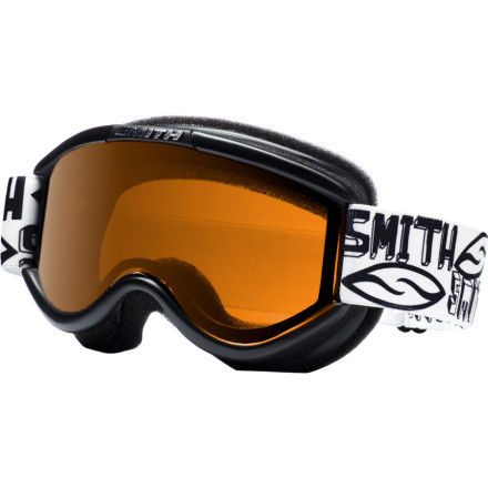 Ski Get your little four-eyes feeling cool about wearing glasses with the Smith Challenger OTG Junior Series Goggle. The Challenger has all the fun strap designs of other Youth Smith goggles, but packs in grown-up-level eyeglass compatibility features. A floating foam membrane keeps eyeglass arms from painfully digging into the temples, and a dual thermal lens keeps fog at bay. - $24.95