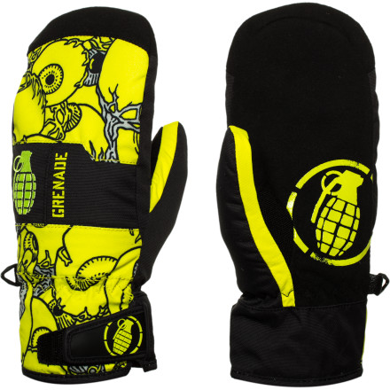 Snowboard Keep your little ripper's fingers huddled for warmth in the Grenade Fragment Kids' Mitten. Primaloft insulation keeps their fingers toasty and a Hipora waterproof insert makes sure they stay dry even if they're spending more time throwing snowballs than snowboarding. - $32.37