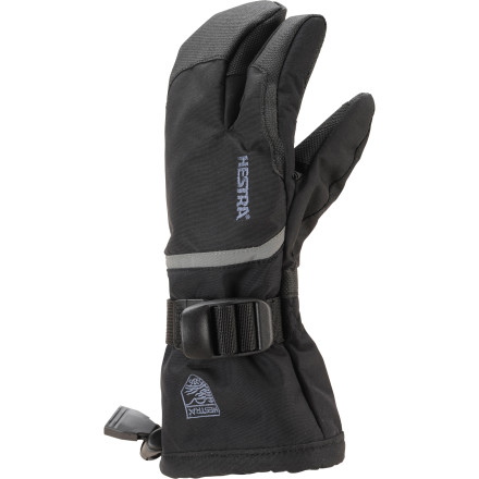 Your little ripper wants to look cool on the mountain and you want to make sure he stays warm. Pull the Hestra Czone Gauntlet 3-Finger Junior Gloves on your kid's hand and you'll have all the bases covered. The Czone membrane blocks wet weather conditions and FiberFill insulation provides the necessary warmth. A cool three-fingered design gives him the warmth of a mitten with dexterity between the thumb and forefinger for fidgeting with boots and zippers. - $64.95