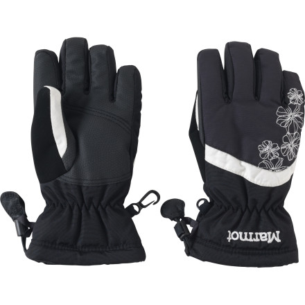 Keep a smile on your girl's face when you cover her hands up for winter recess with the Marmot Girls' Glade Gloves. Thermal R insulation keeps her fingers toasty warm so she doesn't have to cut snow-time short, and wrist cinches keep out stray snow. - $34.95
