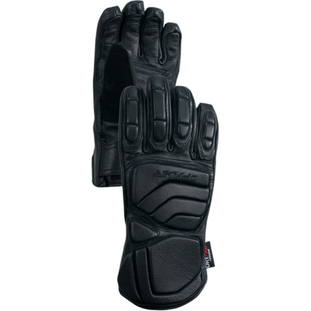 If your kid lives to bash gates day in and day out, then equip your racer grom with the Spyder Boys' Team Glove. Its padded leather hand and knuckles offer superb protection against gates, while a waterproof breathable insert and ThermaWeb insulation protect his racer paw from the elements and ensure his hand stays comfortable and warm during training, race days, or freeski-with-friends weekends. - $48.72