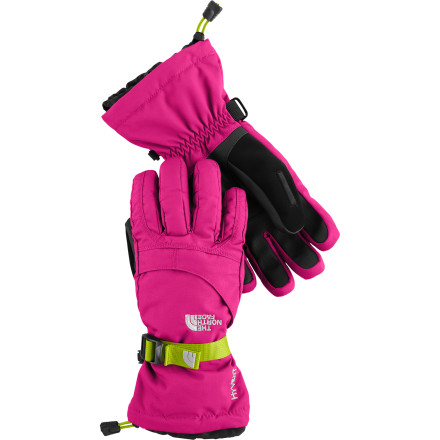 The Montana Girls' Glove from The North Face will keep your young ladies digits warm from the wind-blown eastern prairies to the snow-filled mountains of western Montana. Two layers of durable, waterproof, breathable, HyVent fabric keep her hands dry. Synthetic Heetseeker insulation locks in warmth, while a zippered hand warmer pocket lets you stash a heat pack when the mercury drops. Youth-specific 5 Dimensional Fit and Radiametric Articulation won't restrict her hand motion, and a Storm Door cuff gasket keeps warm air from escaping. - $34.97