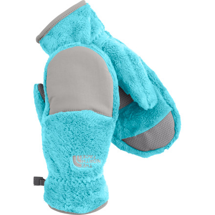 It may be chilly outside, but your girl's fingers are partying under the protection of The North Face Denali Thermal Mitten. Not only do they enjoy the cozyiness of the high-loft fleece, but they get a little extra shelter from the wind thanks to the nylon panel. Silicon pads on the palm help her get a grip on slippery objects. - $18.82