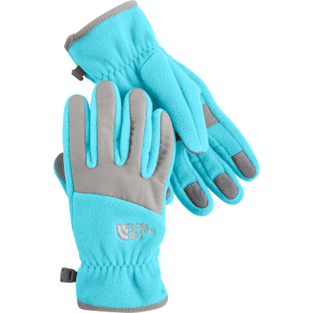 Ski Give your girl The North Face Girl's Denali Gloves before you send her out to fight the cold and snow. Heavyweight fleece keeps your kid's hands warm while she waits for the bus or plays in the snow, and nylon taslan on the knuckles add durability. - $15.57