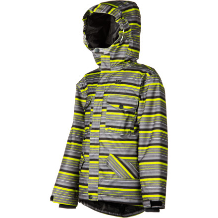 Ski When you zip on the DC Boys' Servo 13 Snowboard Jacket, you know that mom won't hold you up at the door and make you change into something warmer, and you can also be happy knowing you look awesome. With 10K waterproofing and 120g synthetic insulation, you can spend less time in the lodge and more time in the park. - $60.00