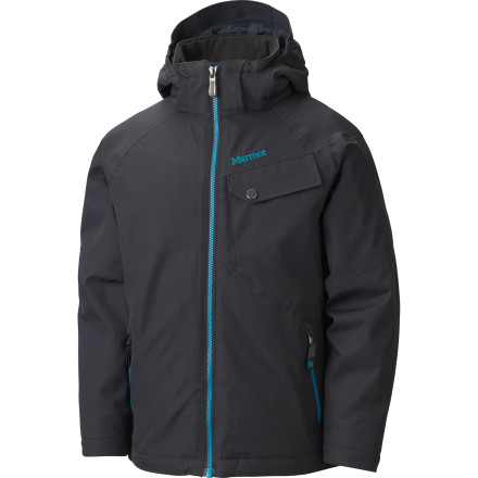 Ski Now that you've figured out how to beat your folks to all the best powder stashes, it's time to suit up in a jacket that's up to snuff with your riding. The Marmot Boy's Mantra Jacket features the same waterproof and breathable Membrain 10 shell fabric found on Marmot's adult jackets and has a built-in powder skirt to keep all the fresh powder you're going to poach from getting inside. - $86.97