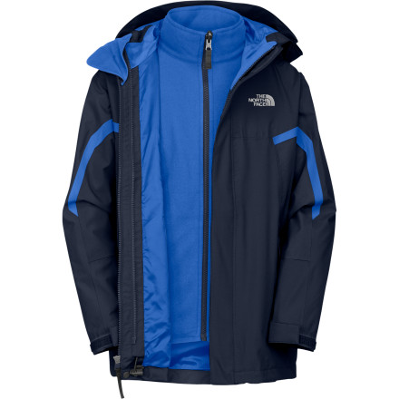 Ski Despite the ominous association of The North Face Boys' Nimbostratus Triclimate Jacket with dark and nasty clouds, this rugged piece is sure to keep junior warm and comfortable. A two-layer waterproof breathable HyVent outer jacket keeps out nature's advances, while a fuzzy fleece liner jacket traps warmth under the shell. - $83.97