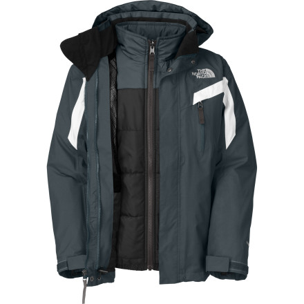 Ski If the resort thermometer spikes or dips too far in either direction, The North Face Boys' Boundary Triclimate Jacket is adaptable to keep your wild and crazy grom on top of his game. A waterproof breathable HyVent 2L shell keeps falling and melting snow from soaking his drive, and the insulated liner jacket boosts warmth when he needs it most. - $101.97