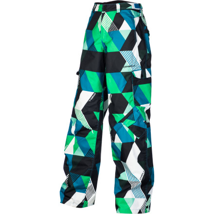 Ski Look to the O'Neil Boys' Volta Print Pant to keep your ninja-pole swinging, helicopter-flying, park-and-pipe grom warm and comfortable. Toasty Firewall insulation warms his bum on chilly lift rides and while he waits for his turn in the pipe. - $59.98