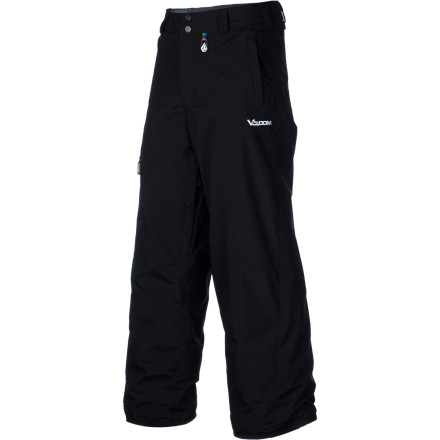 Ski The Volcom Boys' Launch Insulated Pant give your kid a smooth look while and dishes up enough weather protection to keep him dry and warm while he rocks the resort. Make sure he's zipped up in these well-rounded, insulated pants before he straps into his snowboard. - $51.98