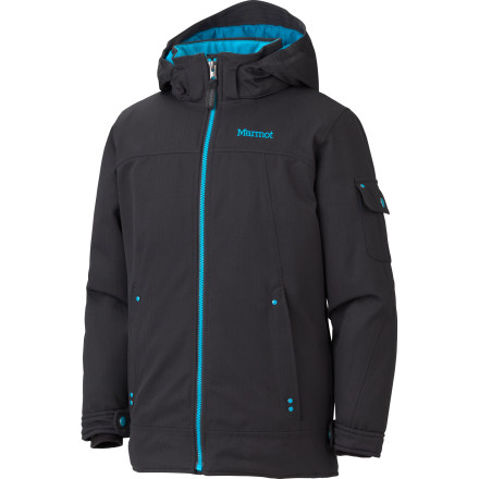 Ski The Marmot Girls' Slopeside Jacket dishes out grown-up tech to keep your up-and-coming ski princess dry and warm while she rules the slopes. Marmot's MemBrain technology and toasty Thermal R insulation perform in harsh environments so even when storms start dumping fresh snow she can keep tearing up the hill. - $86.97